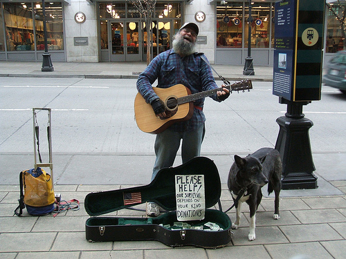 "She even tried ""living room"" street performing for money.  Image borrowed from: http://literarysignpost.com/2012/09/01/street-performer/"